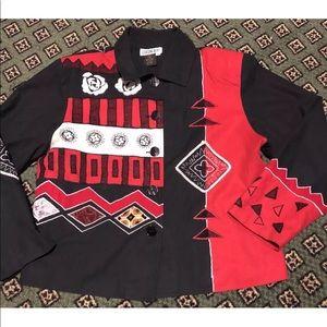 Sz M Vtg 90's Blazer Black/Red 100% Silk